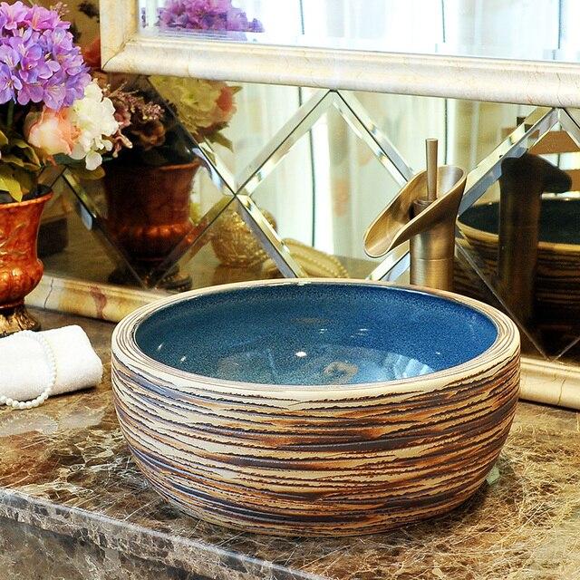 China Artistic Porcelain Handmade Porcelain Lavabo Bathroom Vessel Sinks  Ceramic Wash Basin Shampoo Bowl