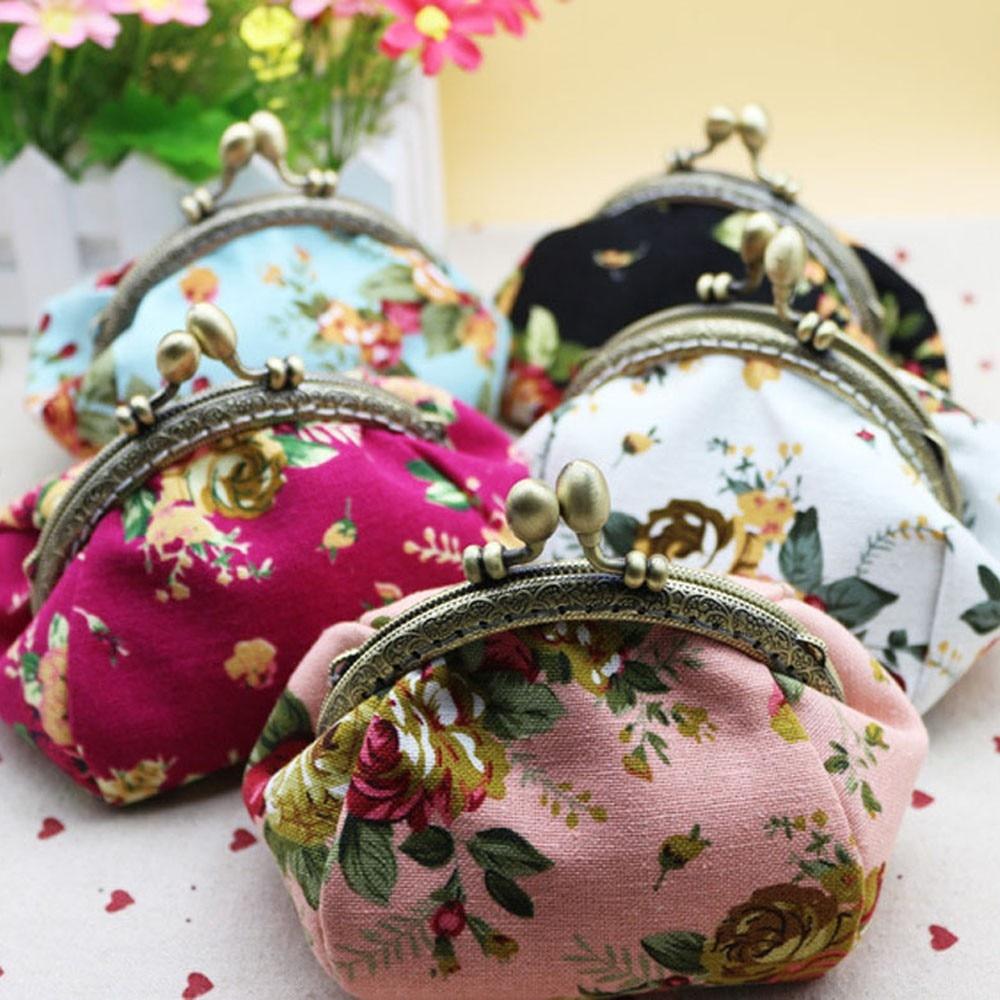 Наивность портмоне Для женщин женские Ретро Винтажные цветок маленький Бумажник Засов с цветочным принтом клатч хороший подарок JUL28