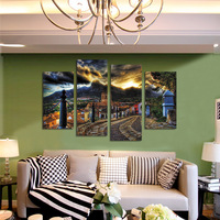 FOUR PC NO FRAME Beautiful Town Oil Painting Printed Oil Painting On Canvas Home Decor Wall