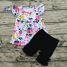 AICTON Hot Selling New Design Happy Farm Summer Baby Outfits Boutique Girl kids Clothing Sets