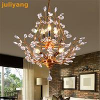 Nordic American Iron Tree Chandelier Creative Retro Bedroom Crystal Light Modern Clothing Store Cafe Dining Chandelier