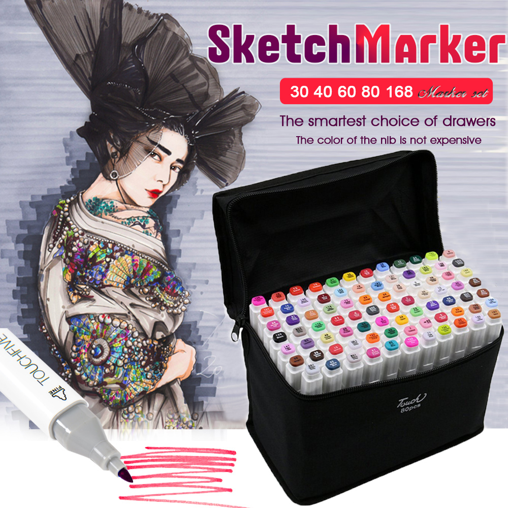 Touchfive 80 Colors Pen Markers Set Dual-Ended Sketch Markers Pen For Drawing Manga Markers Design Art Supplies art markers set dual head alcohol sketch copic markers pen for manga drawing markers design supplies