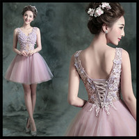 2015 Dignified&Elegant&Limelight Pink Backless Bride&Party&Banquet Evening Gown V Neck Above knee MINI Dress of Bride