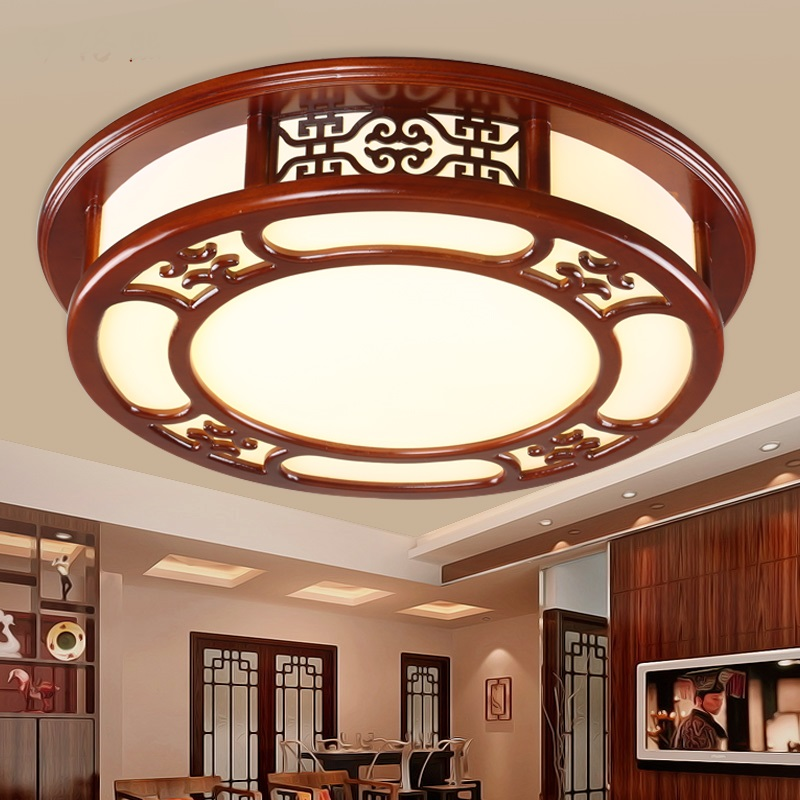 Chinese style circular LED ceiling lamp antique solid wood restaurant master bedroom room lobby living room light ZA1123653