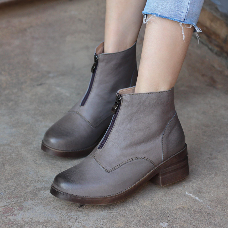 Front zipper retro ins Martin boots Autumn and Winter velveted Korean version 18 new British high heel leather boots