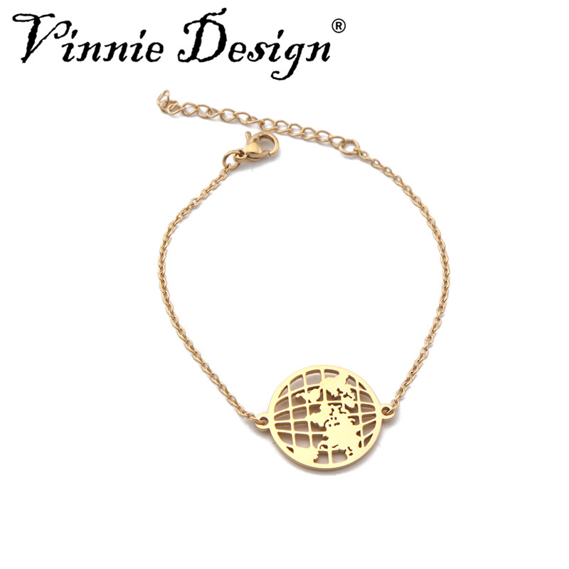 Vinnie Design Jewelry World Map Bracelets & Bangles for Women Globe Charm Bracelet Wanderlust Earth Bracelet Travel Gift