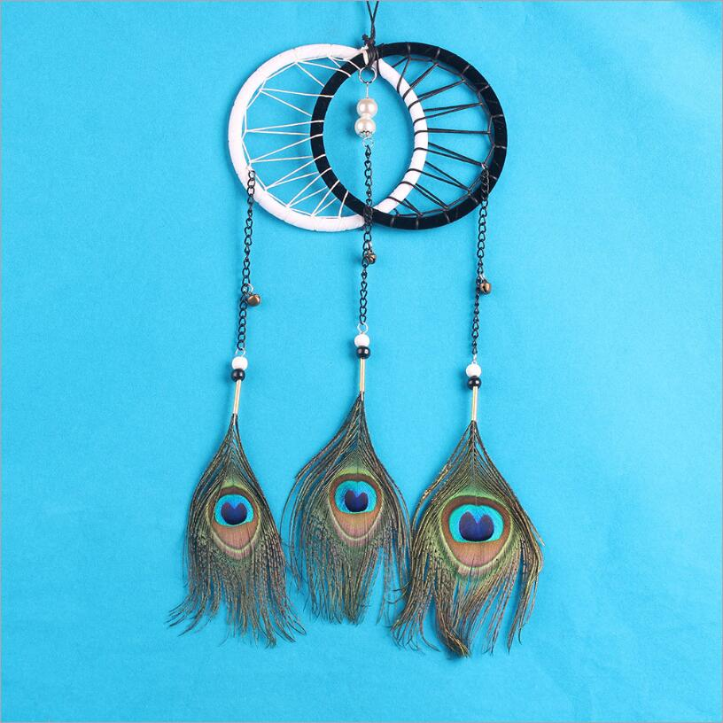 Pure White Feather Woven Dream Catcher Circular Net With: ᗚNew Double Rings Peacock Peacock Feather Dream Catcher