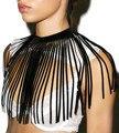 Body jewelry fashion borla capa chal para las mujeres declaración collar collar largo de terciopelo negro choker collares cadena cuerpo n47301