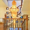 Moderne Lange Gold Kristall Kronleuchter Lichter Leuchte Kristalldroplight Startseite Innenbeleuchtung Treppen Weg Hängeleuchten AC90V-260V 180-GRAD-LICHT