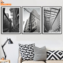 COLORFULBOY City Building Landscape Wall Art Print Nordic Poster Canvas Painting Black White Pictures For Living Room Decor
