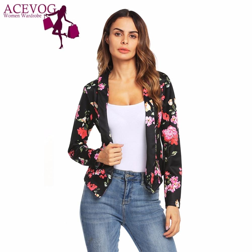 ACEVOG Automne Flore Impression Femmes Vintage Court Blazer Revers Mince Avant Ouverte À Manches Longues Blazers Femme OL Casual Rétro Blazers