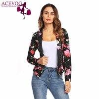 ACEVOG Autumn Flore Print Women Vintage Short Blazer Lapel Slim Front Open Long Sleeve Blazers Female