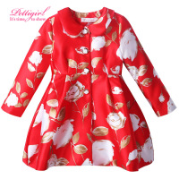 Pettigirl New Spring And Autumn Red Girls Jacket With Delicate Button Baby Floral Outerwear Boutique Kids Clothes for holiday
