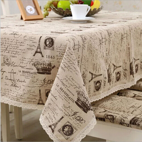European Style Linen Tablecloth Crown Eiffel Tower Printed Table Cloth Table Cover with Lace Edge Mantel|cloth table covers|table cover|linen tablecloth - title=