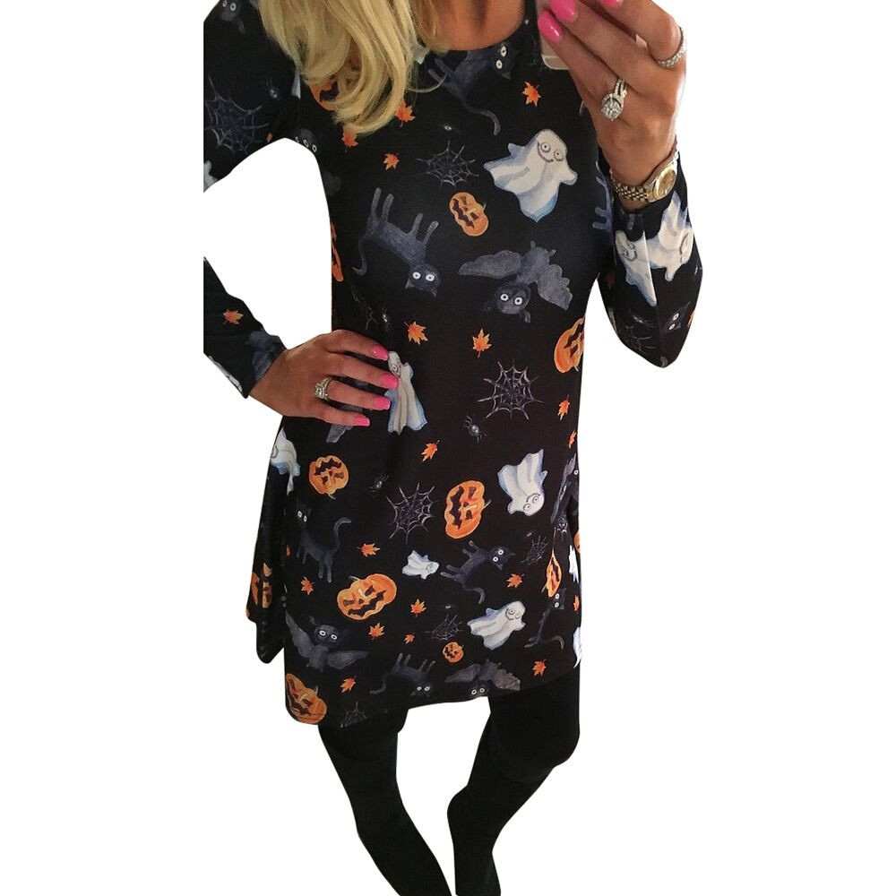 Schädel Print Langarm Kleid Party Minikleider Frauen Halloween Kürbis Frau Kleid 2018 Frühling Sommer Vestido Blanco #20