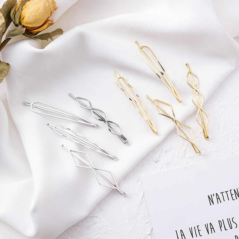 4Pcs/set Korea Simple Metal Hair Clips for Women Geometric Rhombus Gold Silver Color Hairpins Hair Accessories