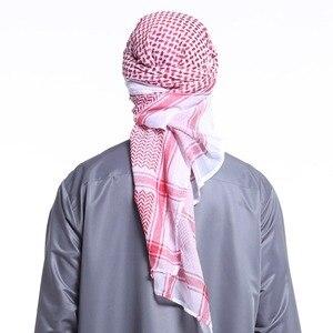 Image 2 - 140x140CM męskie chusty Turban muzułmanin Arab dubaj Retro geometryczne faliste wzory żakardowe plac szalik szal hidżab muzułmański