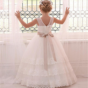 Image 5 - 결혼식을위한 새로운 민소매 계단식 레이스 꽃의 소녀 드레스 리본으로 첫 번째 친교 드레스 소녀 미인 대회 가운
