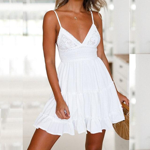 cc88d4a4a8e Sexy V Neck Backless Beach Summer Dress Women Spaghetti Strap Sleeveless  White Short Dress Sundress Female