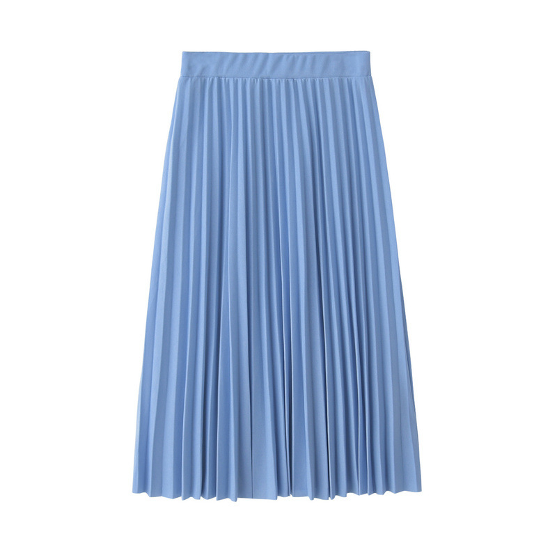 CRRIFLZ 19 Spring Autumn Fashion Women's High Waist Pleated Solid Color Half Length Elastic Skirt Promotions Lady Black Pink 10
