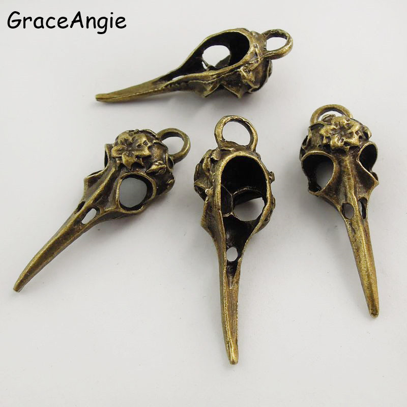 GraceAngie 5Pcs Punk Charms Antique Bronze Skull Bird Head Pointed Mouth Pendant Handmade Hanging Crafts Vintage Jewelry Finding