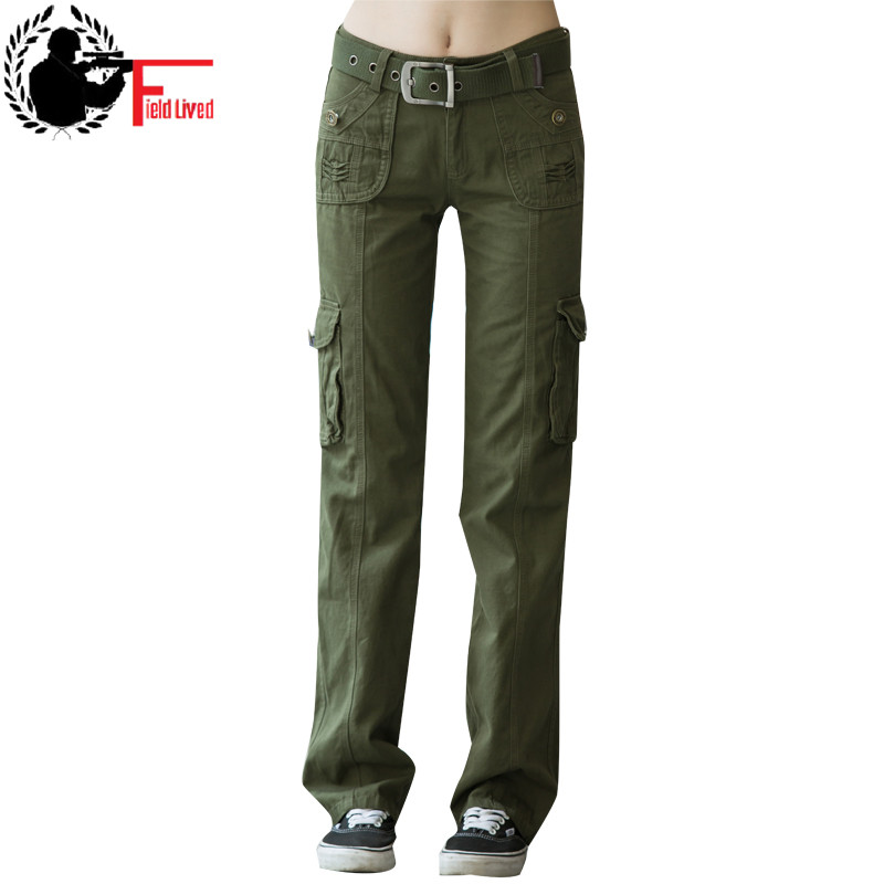 Khaki Cargo Pants Women 2017 Multi Pocket Trouser Causal