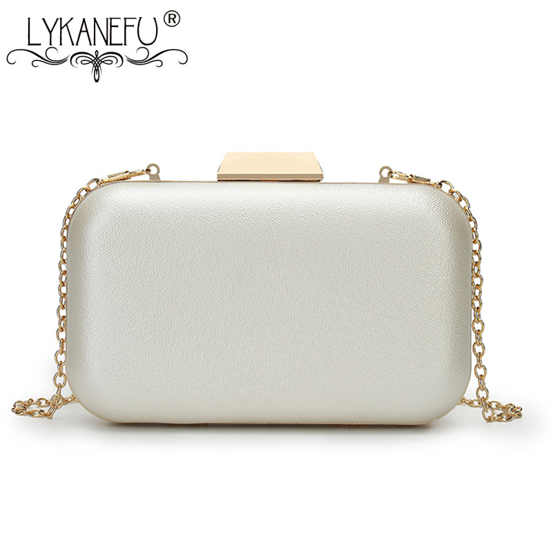 LYKANEFU Ladies Evening Bag with Hasp Lock Women Bag Box Day Clutches Wedding Hand Bag With Chain Phone Package Drop Shipping