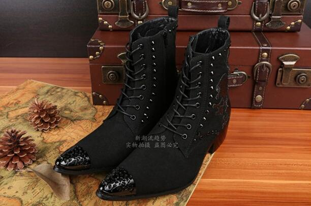 Western black strap cowboy boots mens italian military boots pointed toe suede dress wedding shoes size13 zapatos vaqueros para hombre