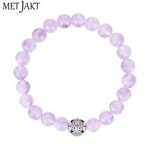 MetJakt Natural Gemstone 8mm Brazilian Amethyst Bracelet Solid 925 Sterling Silver Long Life Beads for Womens Fine Jewelry