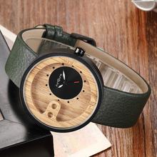 Men Wood Watch Black Carbonized Bamboo White Leather Quartz