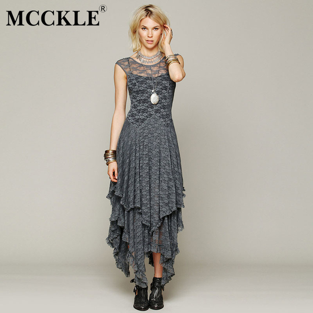 Asymmetrical Lace Maxi Dress Summer Hippie Style Dress 2