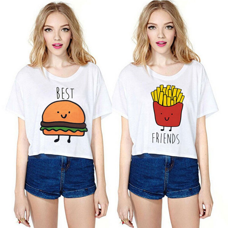 Creative Best Selling 2018 Hot Summer Women T-shirt Funny Best Friends T Shirt Hamburg And Fries Duo Flowy Print Tees Couple Tops Female