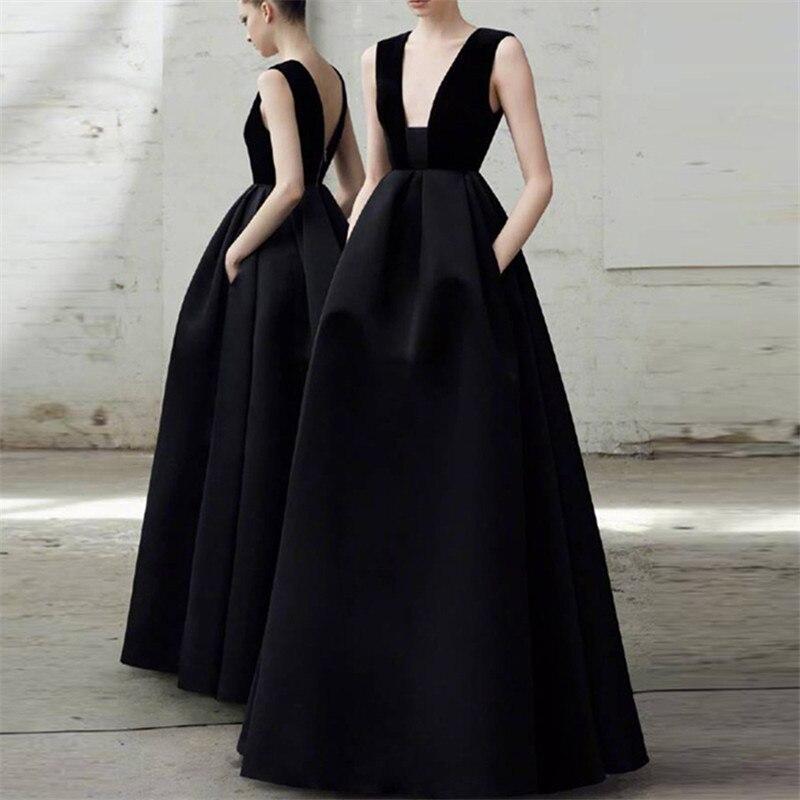 Sexy noir a-ligne longues robes de soirée 2019 robes de soirée pour les femmes col en v broderie dentelle dos nu pas cher robe de soirée nouveau bal