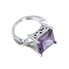 2018 Rings For Women Engagement Big Square Red/ Purple Crystal Stone Zircon Ring Women Wedding Bridal