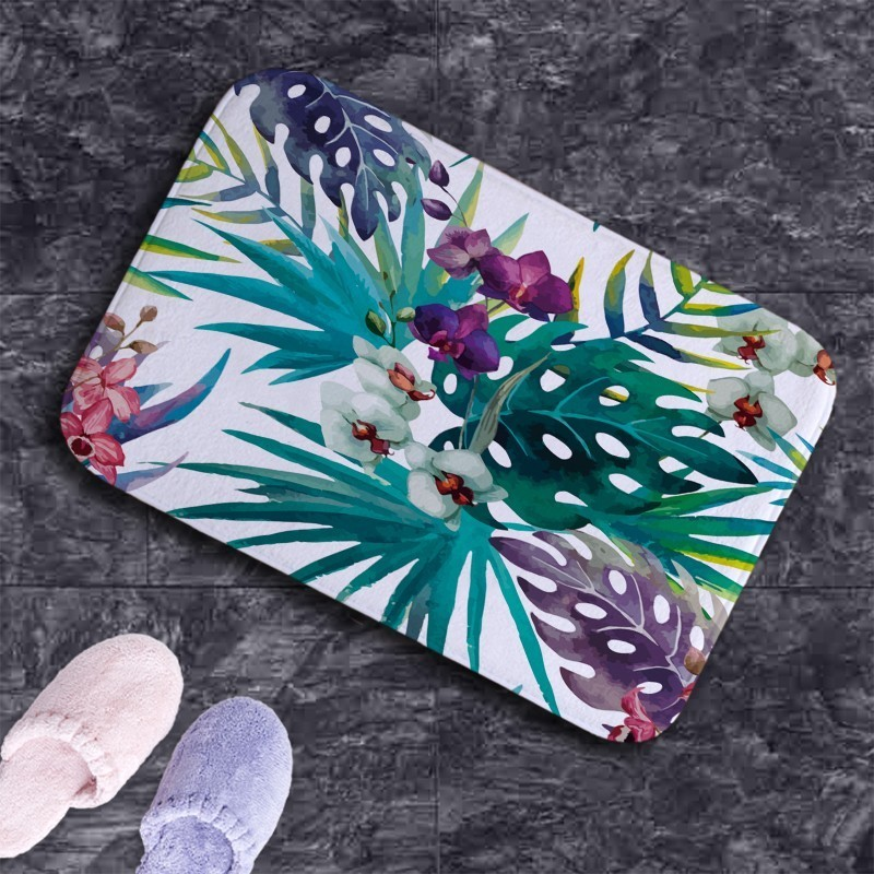 2018 new Household door mat 40x60cm <font><b>carpet</b></font> for bathroom kitchen Nordic green leaves plant print fast water absorption anti-slip
