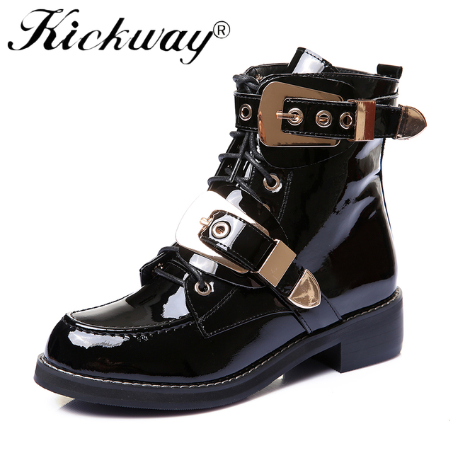 39b4cb413f9 Aliexpress.com : Buy Kickway 2017 Metal Buckle Motorcycle Boots British  Style Women Punk Martin Boots Ankle Boots Fashion Design Locomotive Boots  40 ...