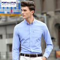 Port&Lotus Men Shirt Solid Oxford Long Sleeve Mens Slim Fit Shirts Brand Clothing 197YDS1358 Mens Clothing camisa masculina