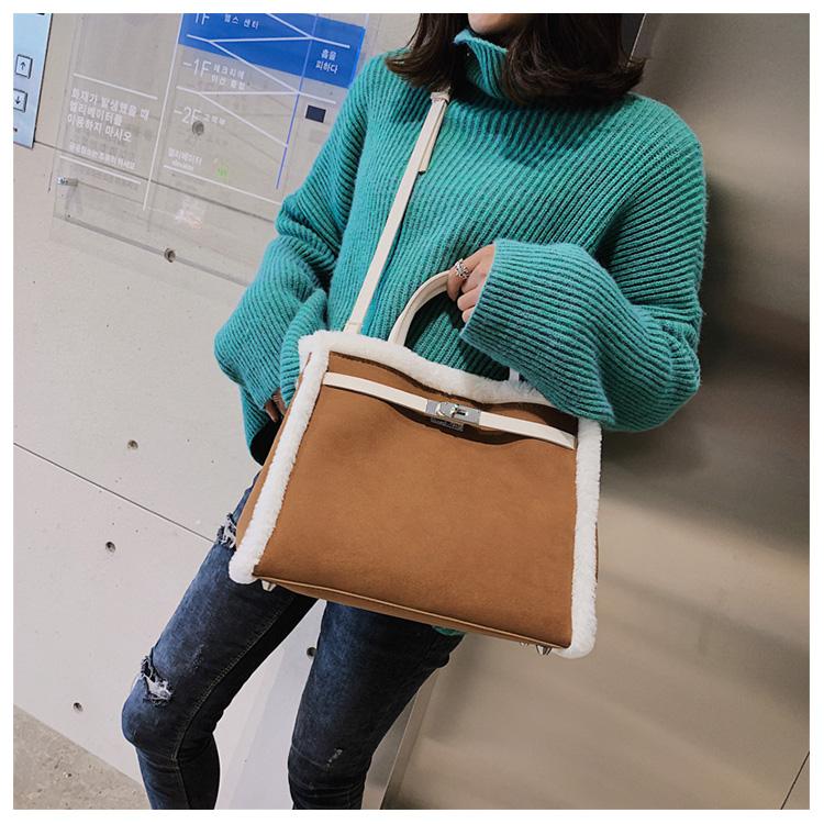 Korean handbag large capacity bucket hand bag designer big tote designer Fur women messengerc winter shopping wool no lock 98