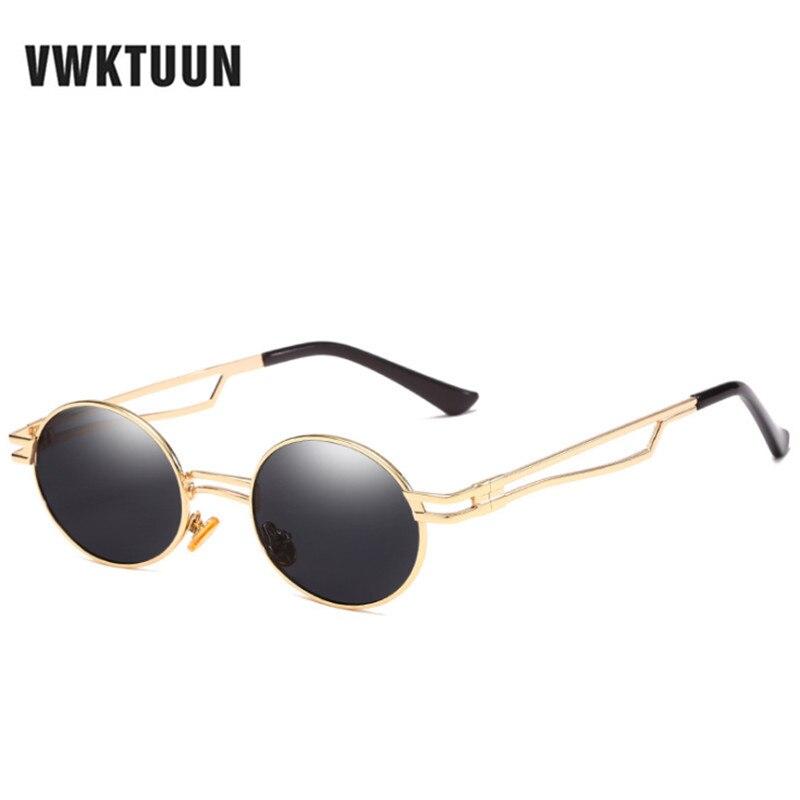 VWKTUUN Metal Sunglasses Steampunk Men Vintage Round Retro Women Brand Designer UV400