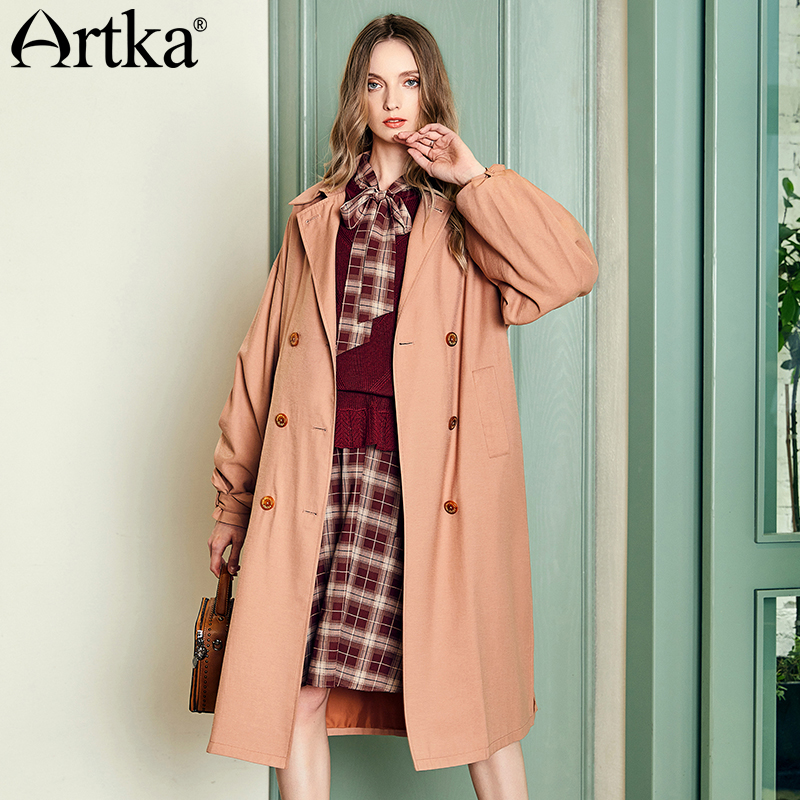 ARTKA 2018 Autumn Female Turn-down Collar Double Breasted Solid Lantern Sleeve Outwear Dectable Belt Long   Trench   FA10082Q