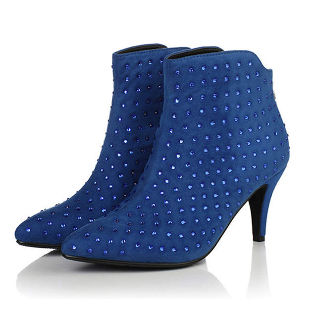 Women Boots Ankle Winter Shoes High Heels Pointed Toe Autumn Rhinestones  Party Shoes Woman Sexy Flock 16800121a24c