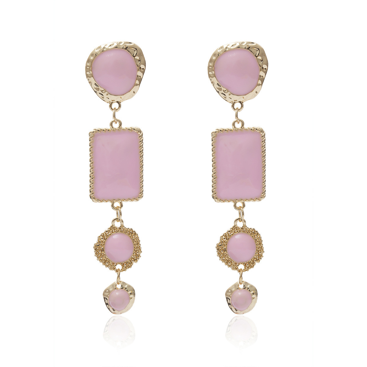 2019 New Korean Oil Painting Long Dangle Earrings Sweet Princess Pink Four Layer Geometric Circle Drop Earring Girl Jewelry Gift in Drop Earrings from Jewelry Accessories