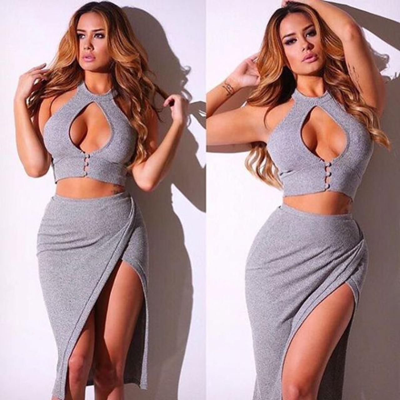 2017 Sexy Bodycon Kim Kardashian Big Ass Dress For Sex Open Leg Sleeveless Women Two Piece Women Night Clubbing Sex Party Dress In Dresses From Womens