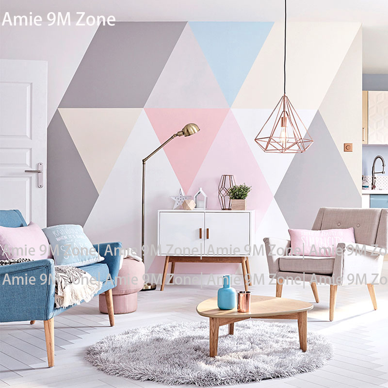 Tuya Art light colorful geometric shape wall-paper for bedroom wallpapers mural  for living roomTuya Art light colorful geometric shape wall-paper for bedroom wallpapers mural  for living room