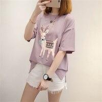 Short Sleeved T Shirt Female Summer New Loose Students Wild Primer 2017 Korean Cartoon Printing Split