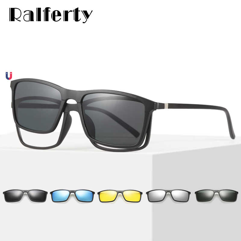 a8b7f9bc5b Ralferty Multiclip Glasses Frame Clip On Magnetic Sunglasses Men Women  Polarized Sunglases Square Sun Glasses Prescription