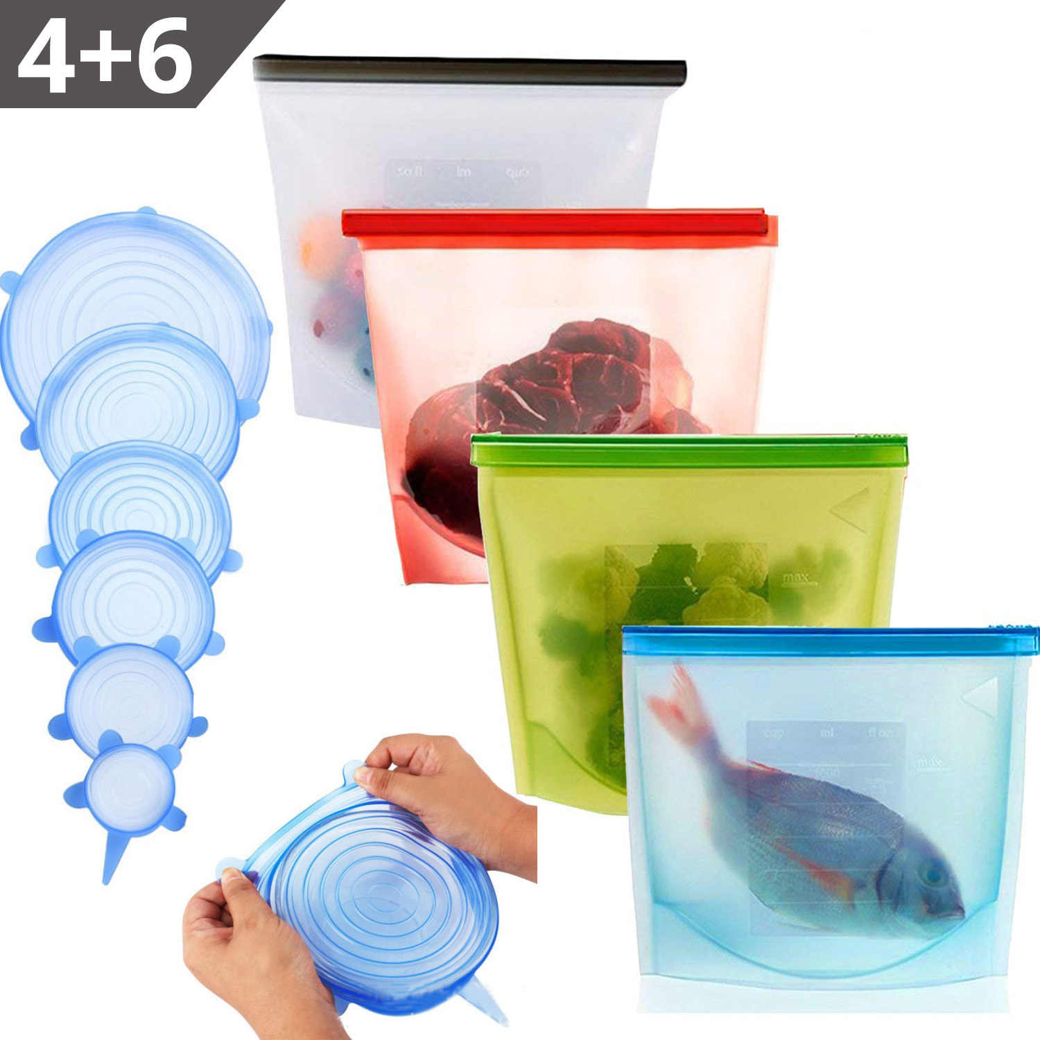 Silicone Storage Bag Silicone Stretch Lid Reusable Silicone Food Storage Bag Lids For Food and Bowl Covers Cooking Fresh Bags