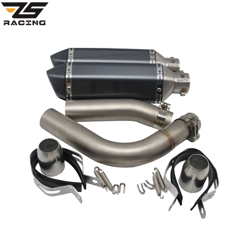 Здесь продается  ZS Racing Middle Pipe+51MM Exhaust Pipex2pcs Motorcycle Stainless Exhaust Pipe Muffler For YAMAHA YZF R1 YZF-R1 2009-2014   Автомобили и Мотоциклы