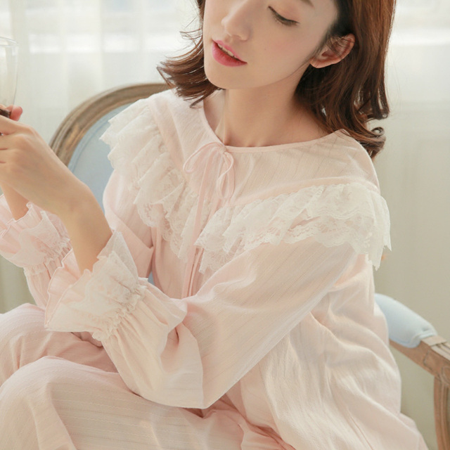 24188d581071 Winter Autumn Princess Women s Pajamas Long Pants Set Pink and Purple  Sleepwear 100% Cotton Nightshirt