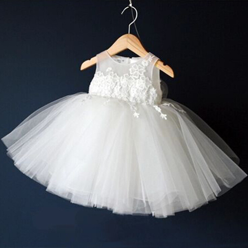White Communion Dresses For Girls 2017 Growns Infant Toddler Pageant Flower Girl for Weddings Party